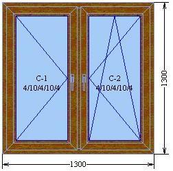 Окно с двумя створками  серии «Элит»